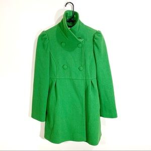 Old Navy Green Pleated Pea Coat